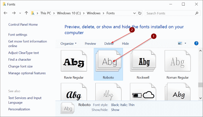 Install fonts in Windows 10 pic6