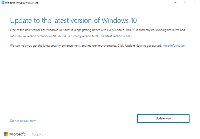 windows 10 manual update to 1803
